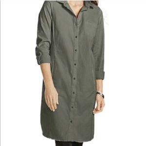 J Jill olive chino roll tab shirt dress I1115